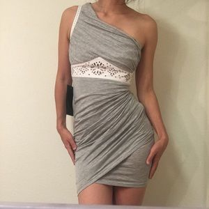 NWT BEBE white/gray leather mini dress size small